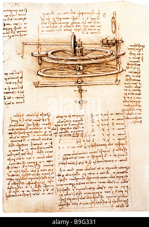 study of mechanics of a spinning wheel by Leonardo da Vinci  1493-1497 - Stock Photo