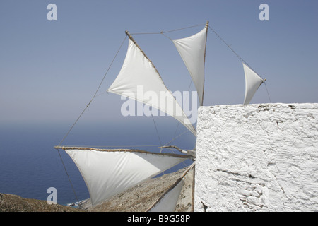 Greece Karpathos Olympos rock-coast windmill detail sea view Dodecanese Island steep-coast coast coast-region mountains - Stock Photo
