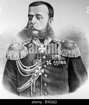 Drawing of Lt Gen Mikhail Skobelev 1843 1882 a participant in the Russo Turkish War of 1877 1878 State Historical - Stock Photo