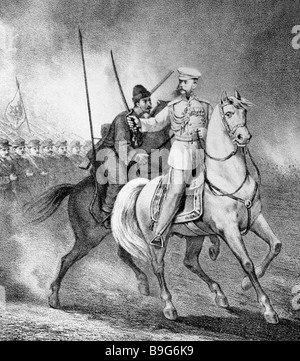A reproduction of a lithograph showing Mikhail Skobelev on horseback right who fought in the 1877 1878 Russo Turkish - Stock Photo