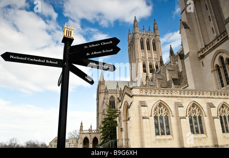 A sign in front of the Washington National Cathedral in Washington DC - Stock Photo