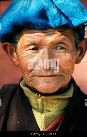 tibetan woman portrait - Stock Photo