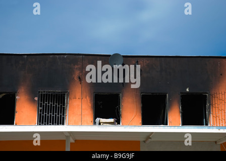 Burnt building at SAPA the Asia Trade Centre in Libus district in outskirts of Prague Czech Republic Europe - Stock Photo
