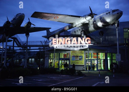 Germany Rhineland-Palatinate Speyer technology-museum outside entrance airplanes evening museum-terrains buildings - Stock Photo