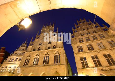 Munster, Muenster, Münster in Germany, North Rhine Westphalia, Prinzipalmarkt, Prinzipal market townhall - Stock Photo