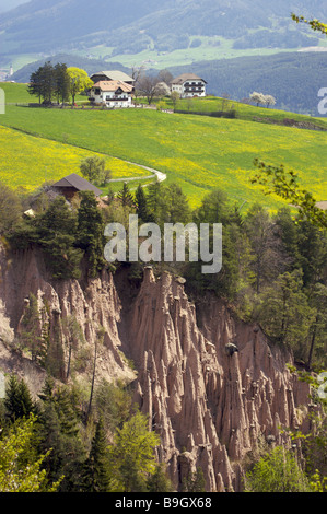 Italy South-Tyrol middle-mountain locality perspective earth pillar destination sight Finsterbach-Valley nature - Stock Photo