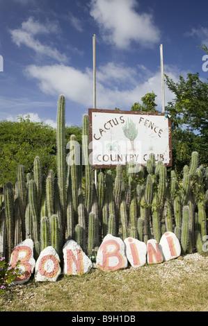 Bonaire Rincon Cactus Fence Country club sign cacti stones Bon Bini ABC islands little one Antilles writes on Antilles - Stock Photo