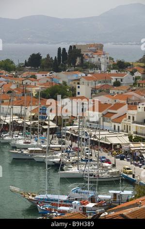 Greece island samos Pythagorion city view harbor boats Europe Mediterranean-island sea Mediterranean Aegean city - Stock Photo