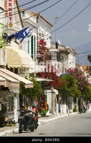 Greece island samos Pythagorion shopping streets Europe Mediterranean-island destination city streets buildings - Stock Photo