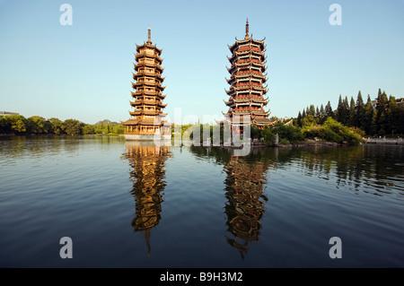China, Guangxi Province, Guilin, Banyan Lake Pagodas - Stock Photo