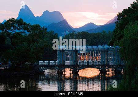 China, Guangxi Province, Guilin, Banyan Lake - Stock Photo