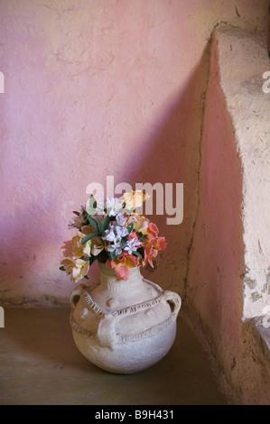 Morocco Tafilalt Merzouga Clay House Corner Flower Vase Africa North