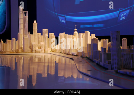 China, Shanghai. Model of Shanghai in the Shanghai Urban Planning Centre. - Stock Photo