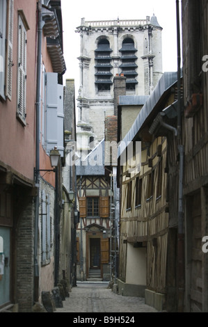 France department Aube Troyes Old Town alley Ruelle of the Chats timbering-houses Eglise Saint Madeleine north-east - Stock Photo
