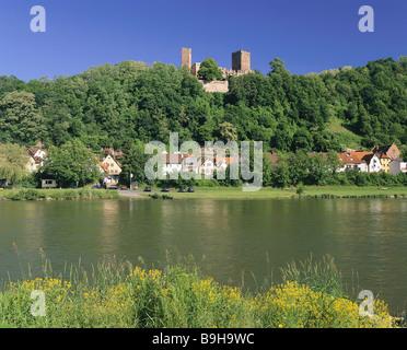 Germany Lower Franconia Rothenfels am Main city view castle river Bavaria franconia city sight castle-buildings - Stock Photo