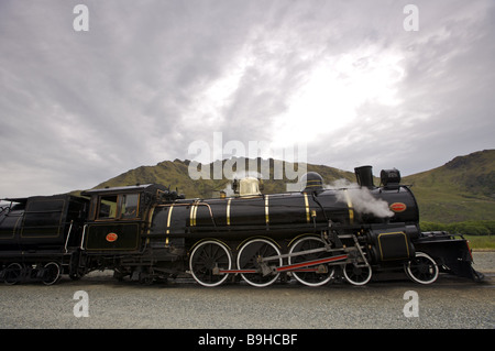 New Zealand South-island Central Otago Fairlight station train steam-loco Kingston Flyer destination sight railway - Stock Photo