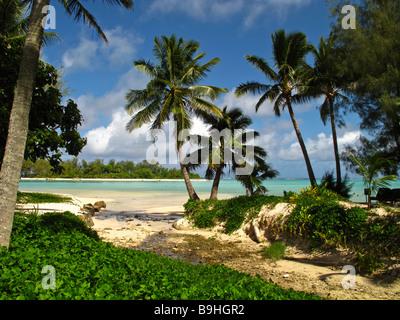 Stream beach and Muri lagoon Rarotonga Cook Islands - Stock Photo