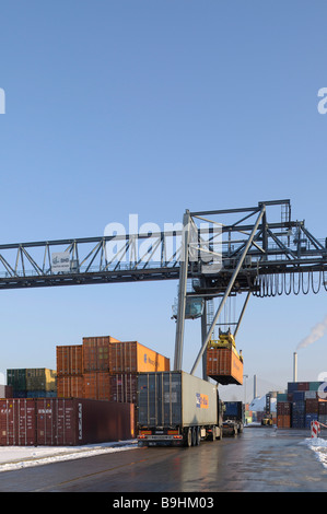 Container handling at Bonn Harbour, container being loaded onto a lorry, Bonn, North Rhine-Westphalia, Germany, - Stock Photo