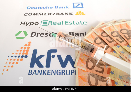 Injection needle on banknotes and bank logos, symbolic picture of cash injection for banks - Stock Photo