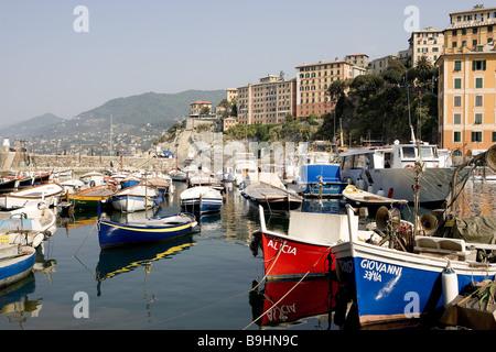 Italy Liguria coast Camogli locality perspective harbor boats lake Camoggi bay sea-bay harbor-place fisher-village - Stock Photo