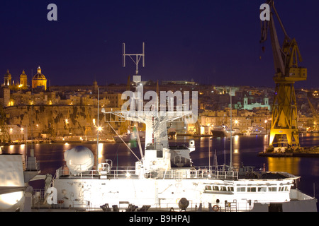 HMS Bulwark Berthed in Grand Harbour Valletta - Stock Photo