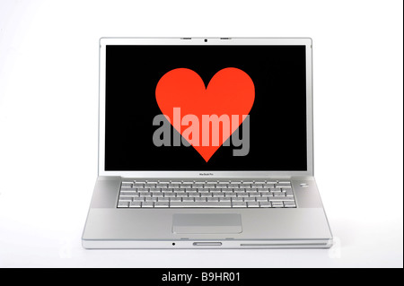 Heart On An Apple Macbook Pro Screen Symbol For Online Dating Stock