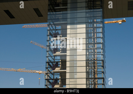 Kranhaus building, new construction on Rheinauhafen harbour, Cologne, North Rhine-Westphalia, Germany - Stock Photo