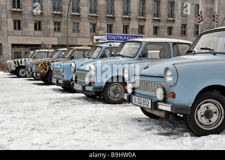 Old GDR Trabant cars for city tours of Berlin, Germany, Europe - Stock Photo