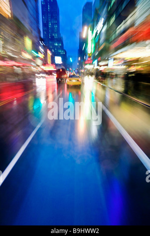 Night scene of 42nd Street near Times Sq - Stock Photo