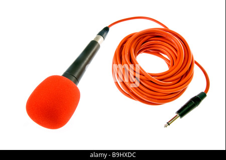 microphone micro mike mic mikrophone with red line wire cable strip line connect connection music sing singer vision - Stock Photo
