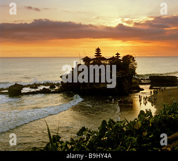 Pura Tanah Lot, ocean temple, dusk, Bali, Indonesia, south-east Asia - Stock Photo