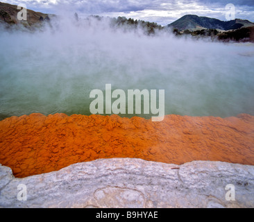 Champagne Pool, hot springs, geothermal area Waiotapu, Rotorua, North Island, New Zealand - Stock Photo