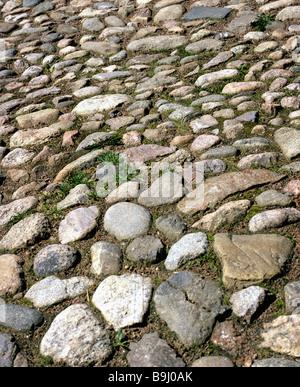 Natural cobble-stoned pavement - Stock Photo