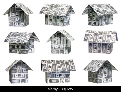Nine different dollar real estate houses - Stock Photo