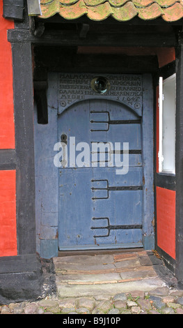 Oldest door from 1645 in house at Aroskobing - Stock Photo