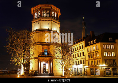 Schlossturm Tower on Burgplatz Square, night shot, historic centre, Duesseldorf, North Rhine-Westphalia, Germany, - Stock Photo