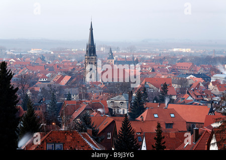 View of the historic old town of Wernigerode, Harz, Saxony-Anhalt, Germany, Europe - Stock Photo