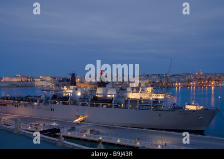 Royal Navy Assault Ship HMS Bulwark Berthed in Grand Harbour Valletta - Stock Photo