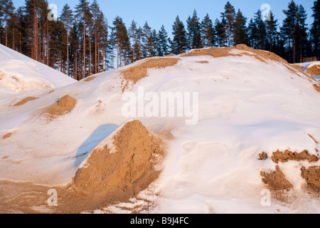 Sand extracted from a gravel pit which is situated on glacial esker , Finland - Stock Photo