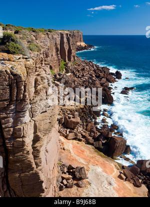Rock formations along the Western Coast of the island Isola di Sant' Antioco, Sardinia, Italy, Europe - Stock Photo