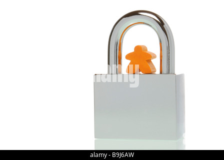 Small human figure on a padlock, symbolic image for personal security - Stock Photo