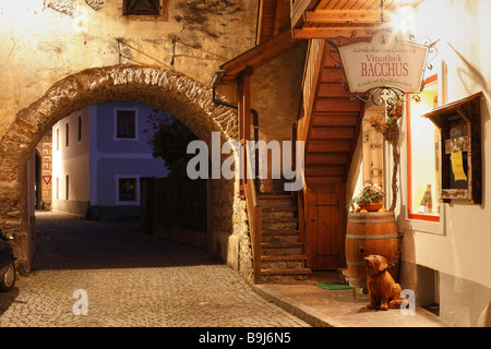 City gate in Kirchgasse alley, Vinothek Bacchus wine store, Gmuend in Carinthia, Austria, Europe - Stock Photo