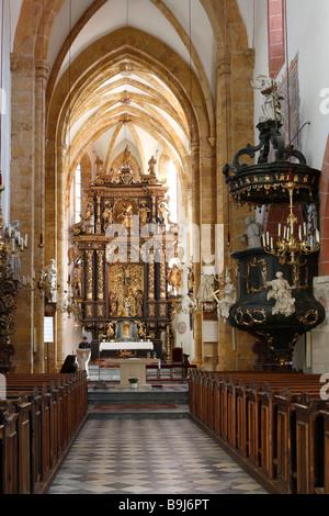 Interior view of the St. Matthaeus town parish church, St. Matthew Church, Murau, Styria, Austria, Europe - Stock Photo