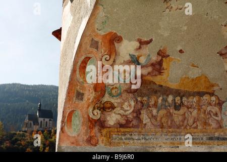 Fresco 'Zug der Seligen' on the outer wall of the St. Matthaeus town parish church, St. Matthew Church, Murau, Styria, - Stock Photo