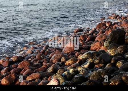 Red and black stones on a beach, Playa de Santiago, La Gomera, Canary Islands, Spain, Europe - Stock Photo