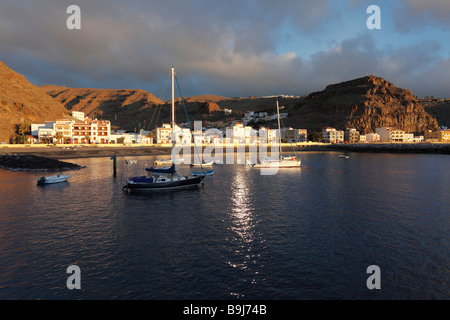 In the port, harbour in the morning, Playa de Santiago, La Gomera, Canaries, Canary Islands, Spain, Europe - Stock Photo