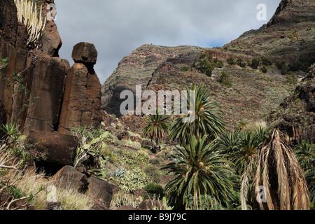 Rock formation in Barranco de Arure, Valle Gran Rey, La Gomera, Canary Islands, Spain, Europe - Stock Photo