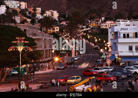 Streets with Christmas decoration at nighttime in La Playa, Valle Gran Rey, La Gomera, Canaries, Canary Islands, - Stock Photo
