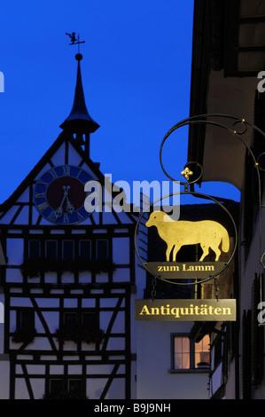 Sign of an Antique Shop in the historic city centre of Stein am Rhein, Canton of Schaffhausen, Switzerland, Europe - Stock Photo