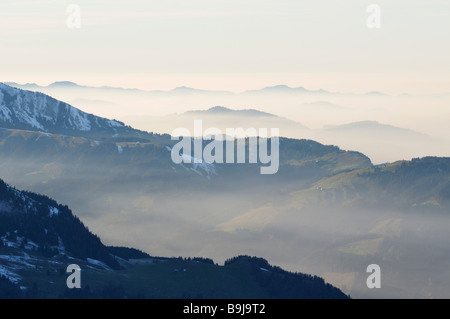Atmospheric inversion in Appenzeller Land, Kanton Appenzell Innerrhoden, Switzerland, Europe - Stock Photo